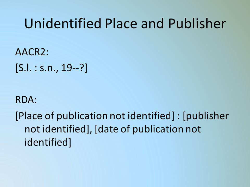 Unidentified Place and Publisher