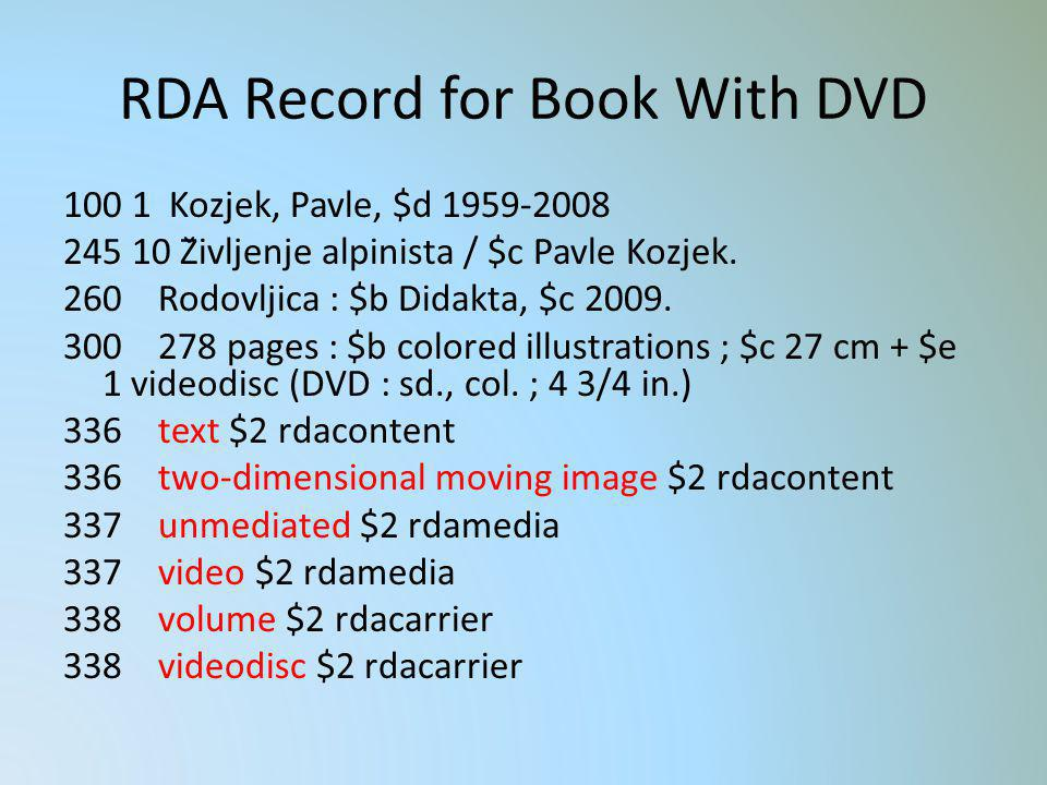 RDA Record for Book With DVD