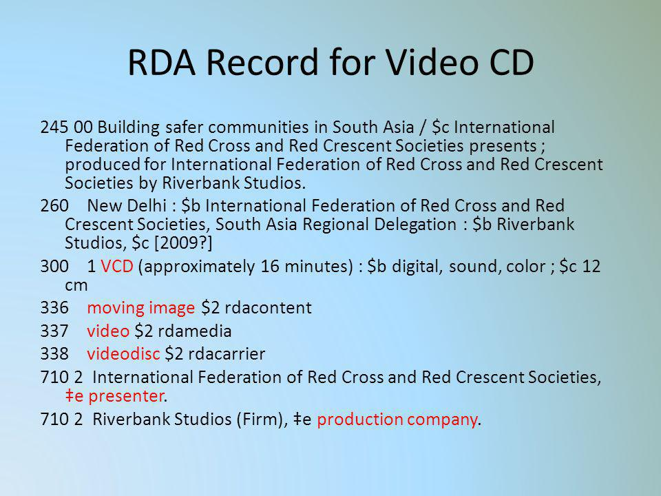 RDA Record for Video CD