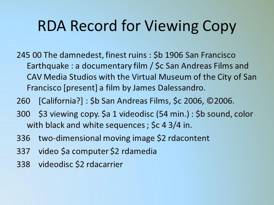 RDA Record for Viewing Copy