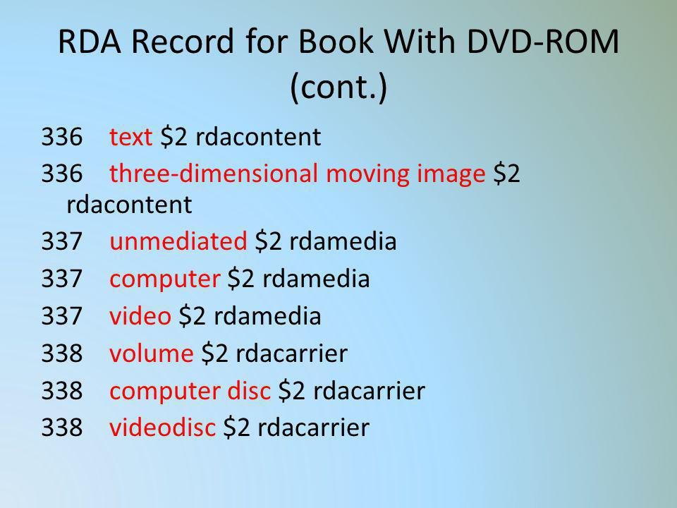 RDA Record for Book With DVD-ROM (cont.)