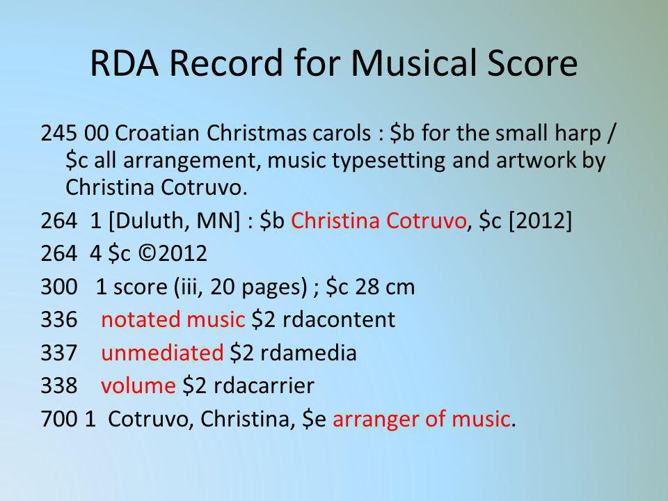 RDA Record for Musical Score