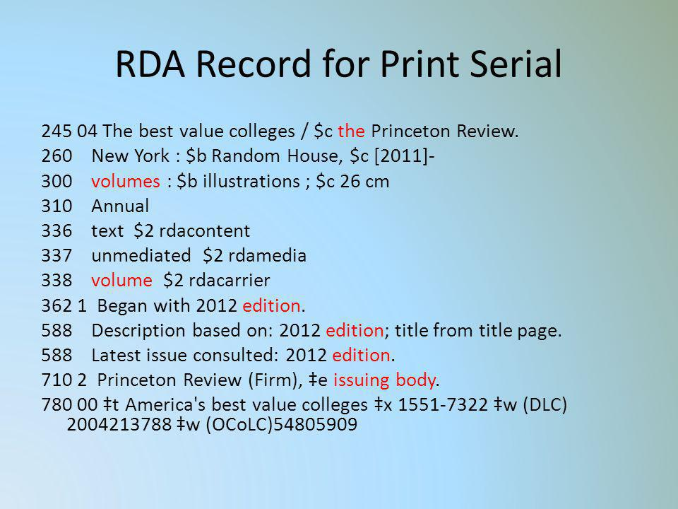 RDA Record for Print Serial