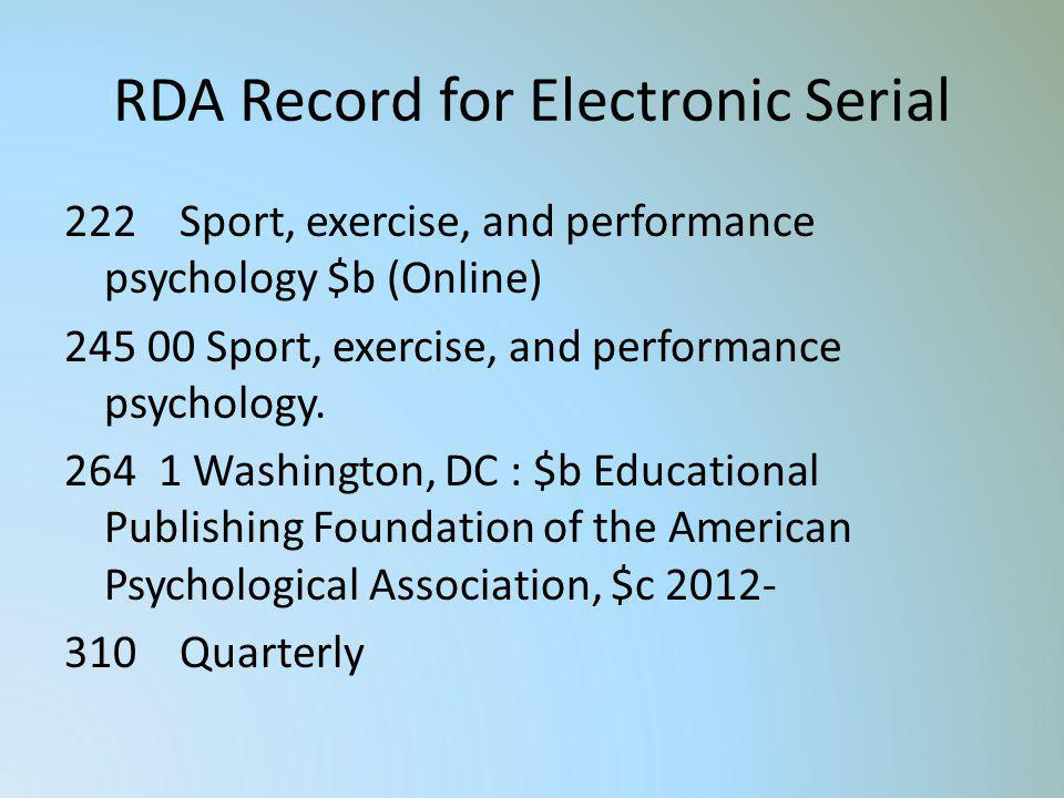 RDA Record for Electronic Serial