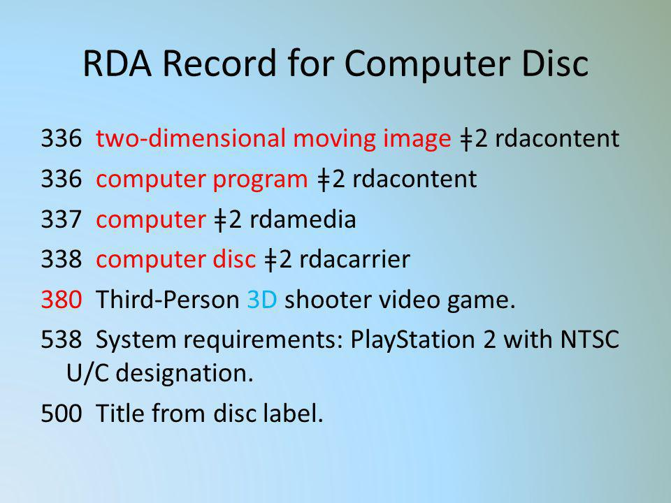 RDA Record for Computer Disc