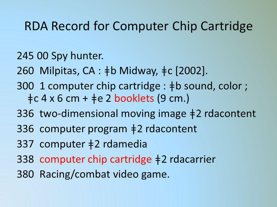 RDA Record for Computer Chip Cartridge