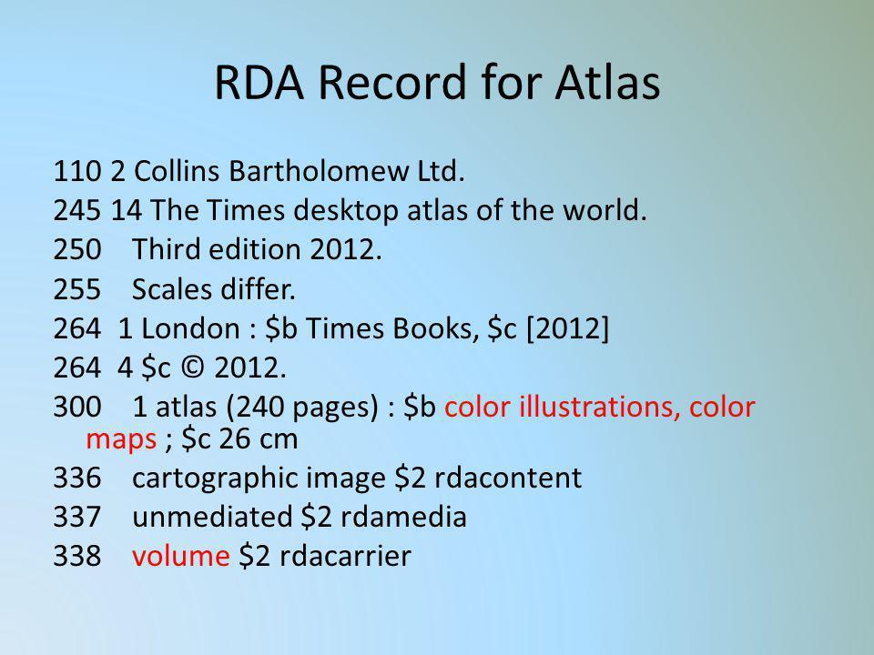RDA Record for Atlas