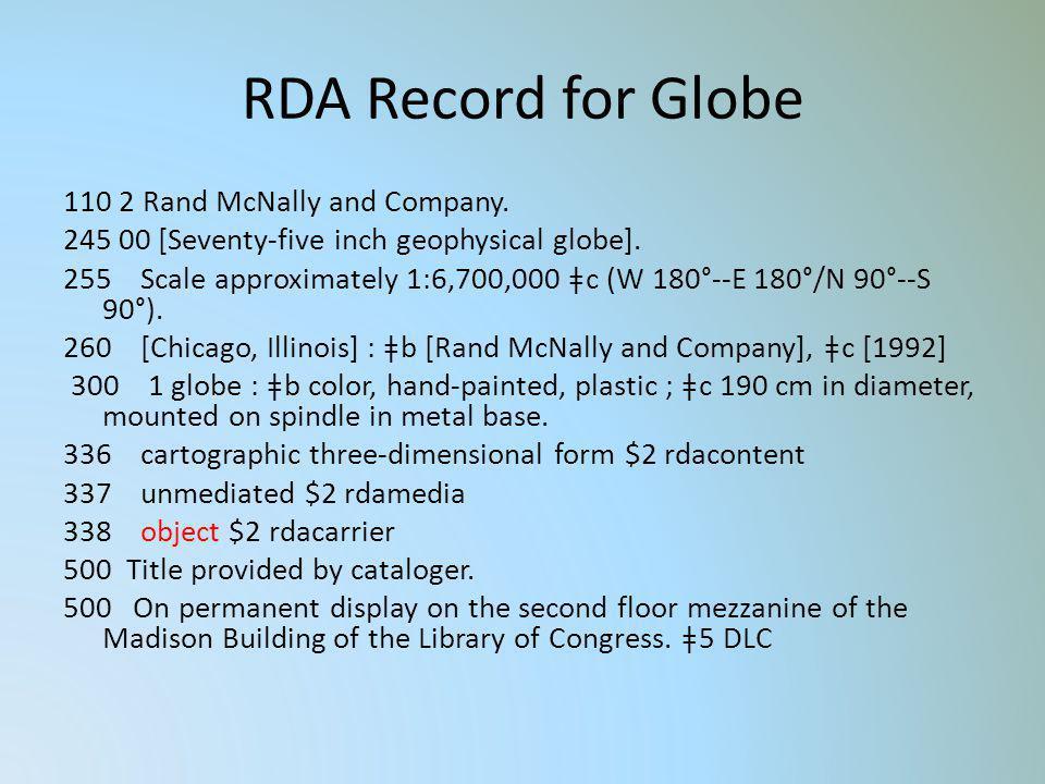 RDA Record for Globe
