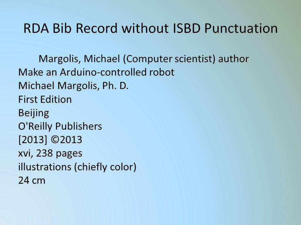 RDA Bib Record without ISBD Punctuation