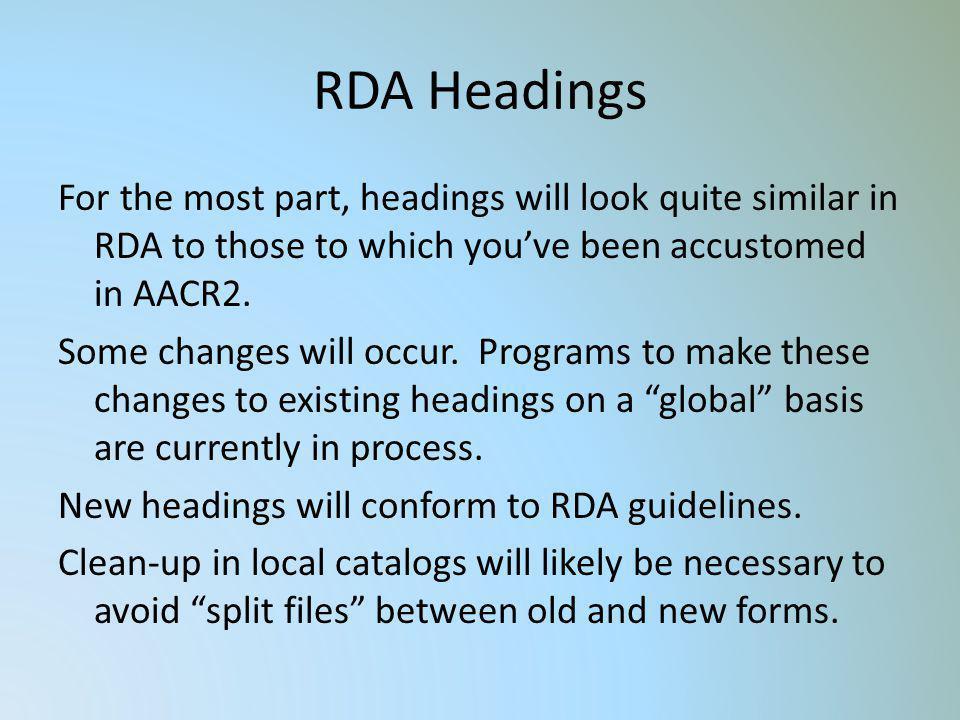 RDA Headings