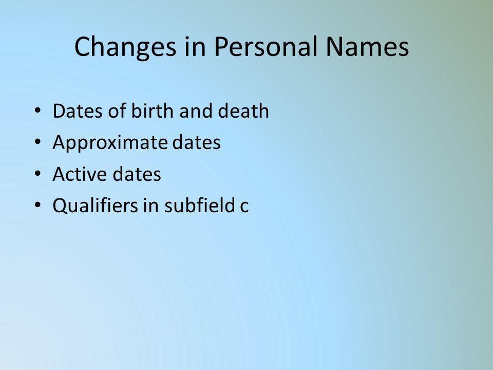 Changes in Personal Names