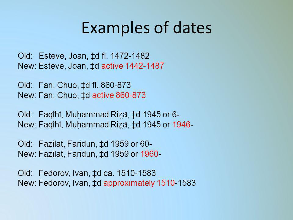 Examples of dates