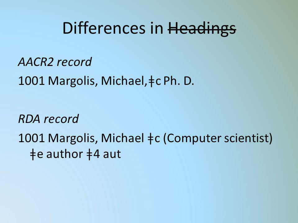 Differences in Headings