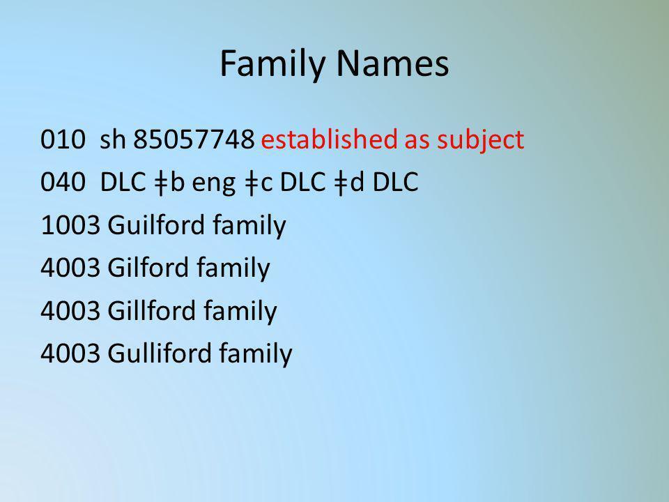 Family Names