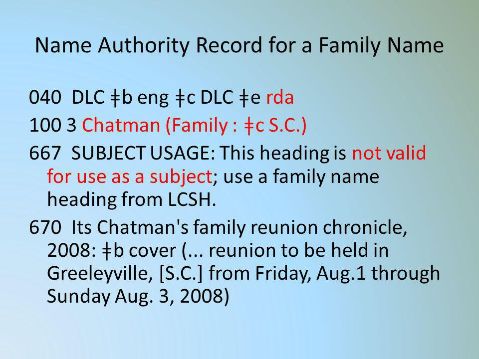 Name Authority Record for a Family Name