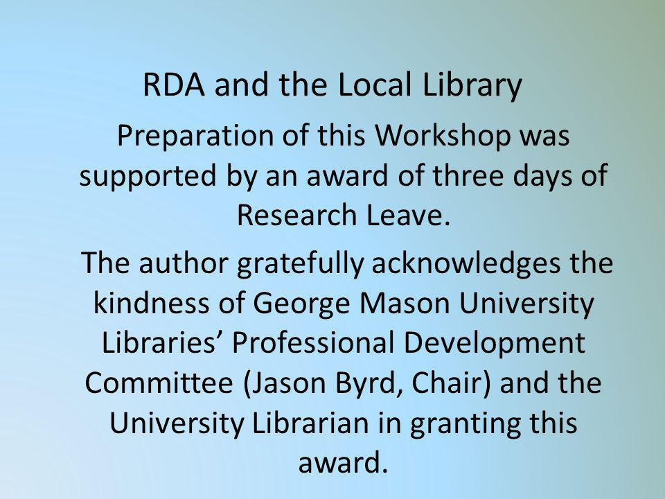 RDA and the Local Library