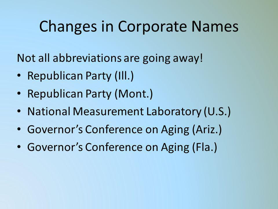Changes in Corporate Names