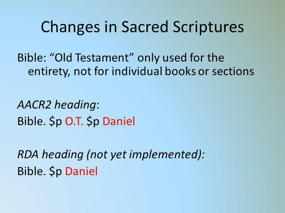 Changes in Sacred Scriptures