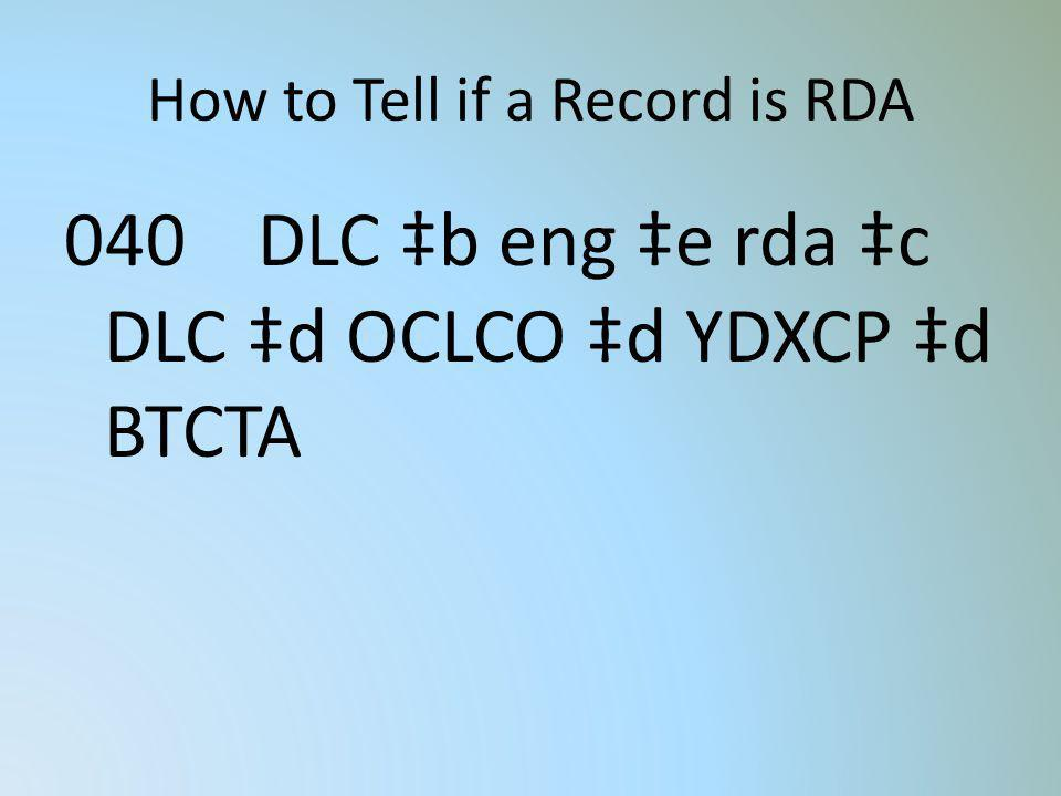 How to Tell if a Record is RDA