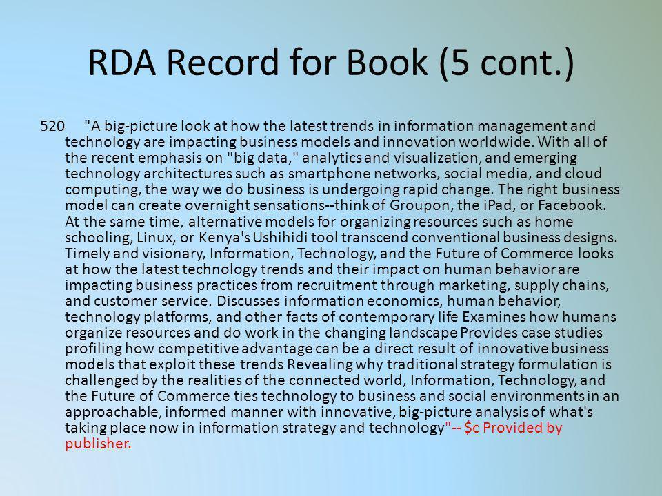 RDA Record for Book (5 cont.)