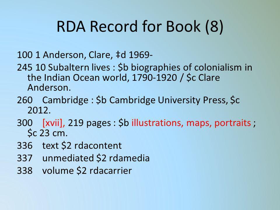 RDA Record for Book (8)