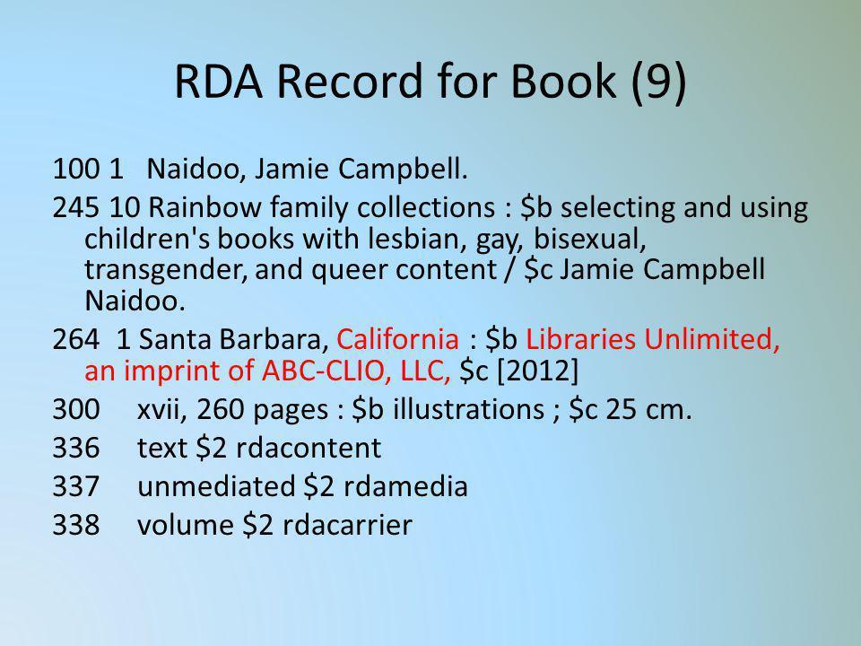 RDA Record for Book (9)