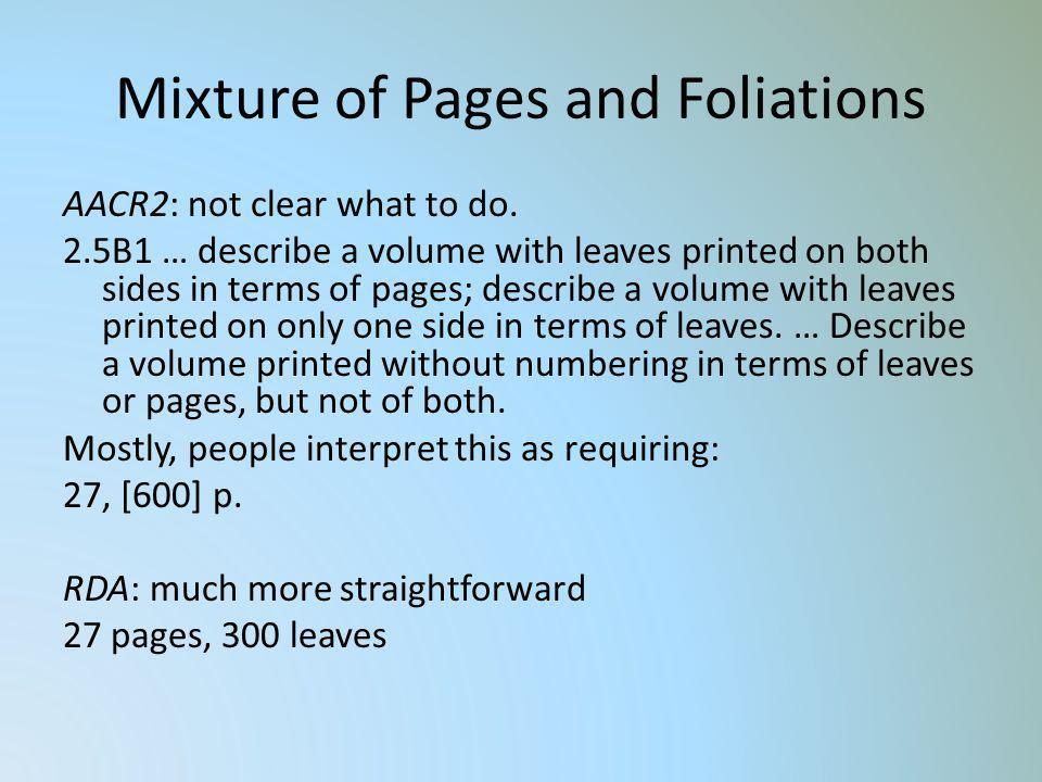 Mixture of Pages and Foliations