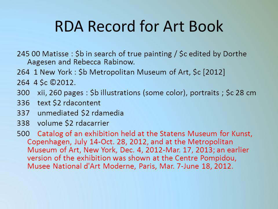 RDA Record for Art Book