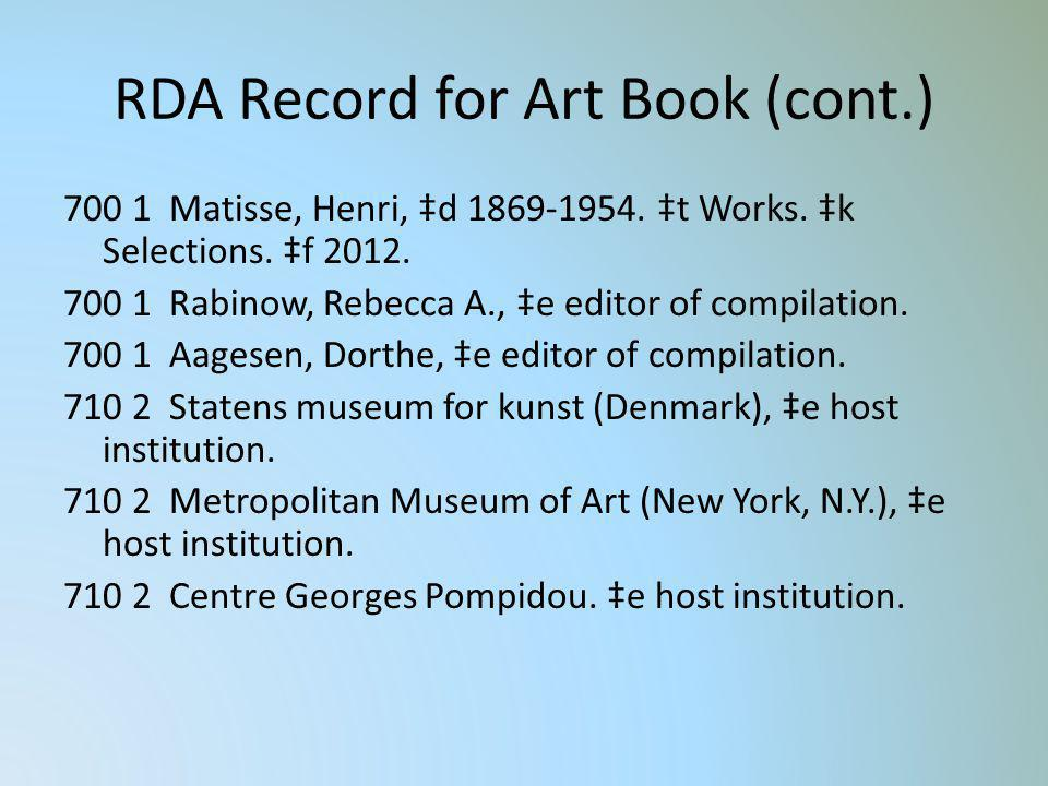 RDA Record for Art Book (cont.)