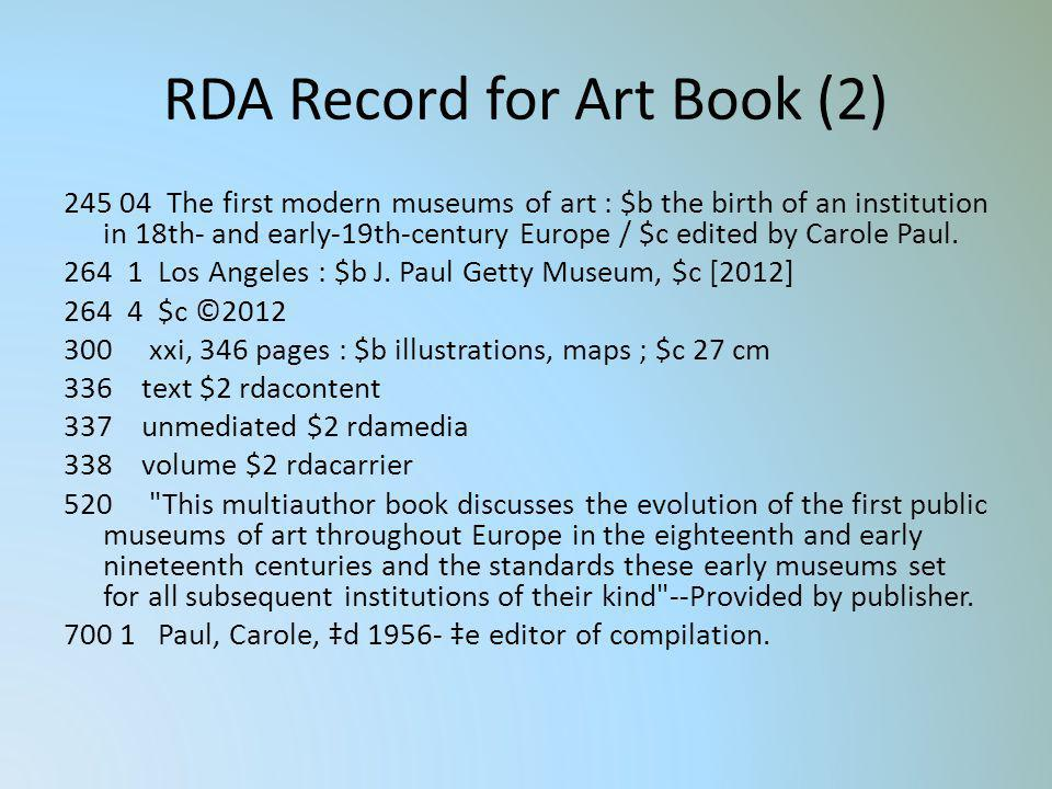 RDA Record for Art Book (2)