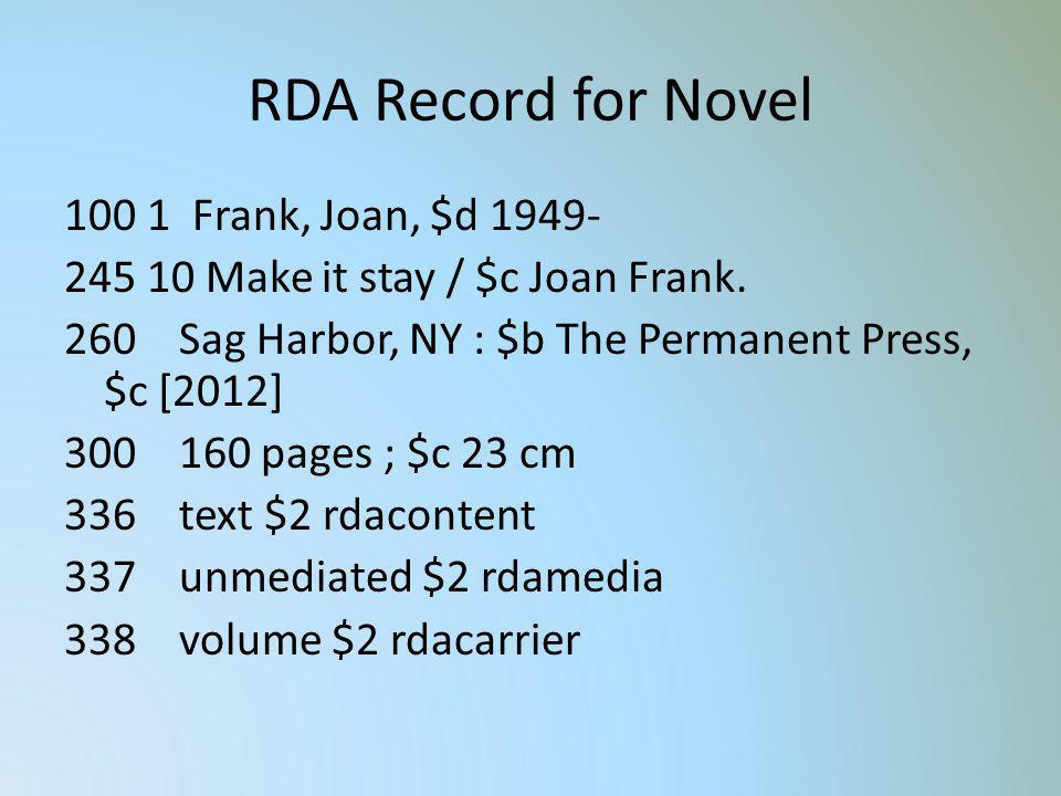 RDA Record for Novel