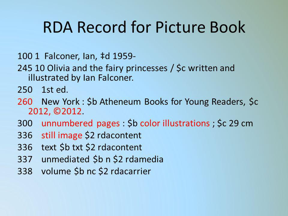 RDA Record for Picture Book