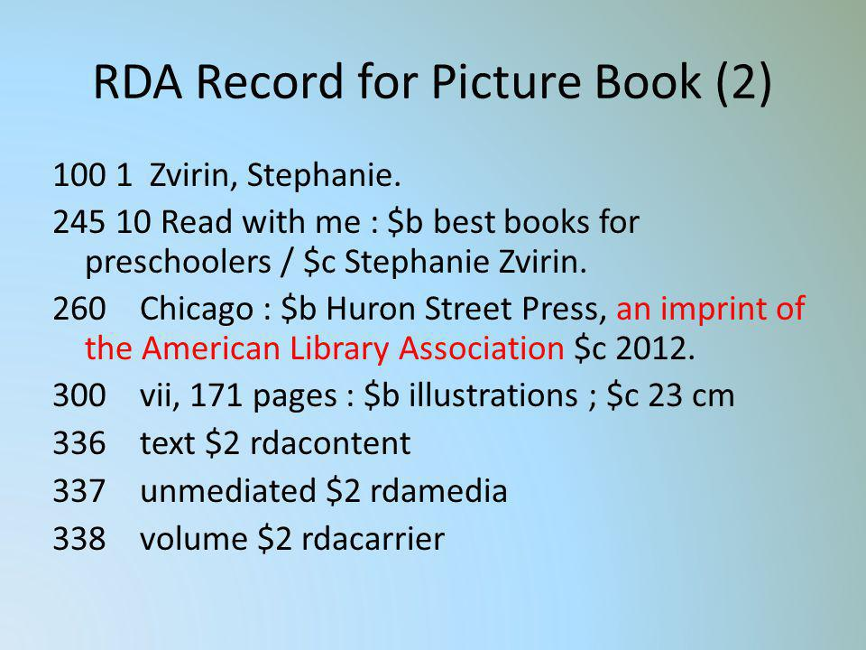 RDA Record for Picture Book (2)