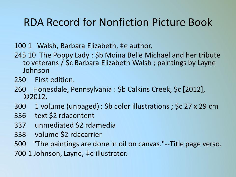 RDA Record for Nonfiction Picture Book