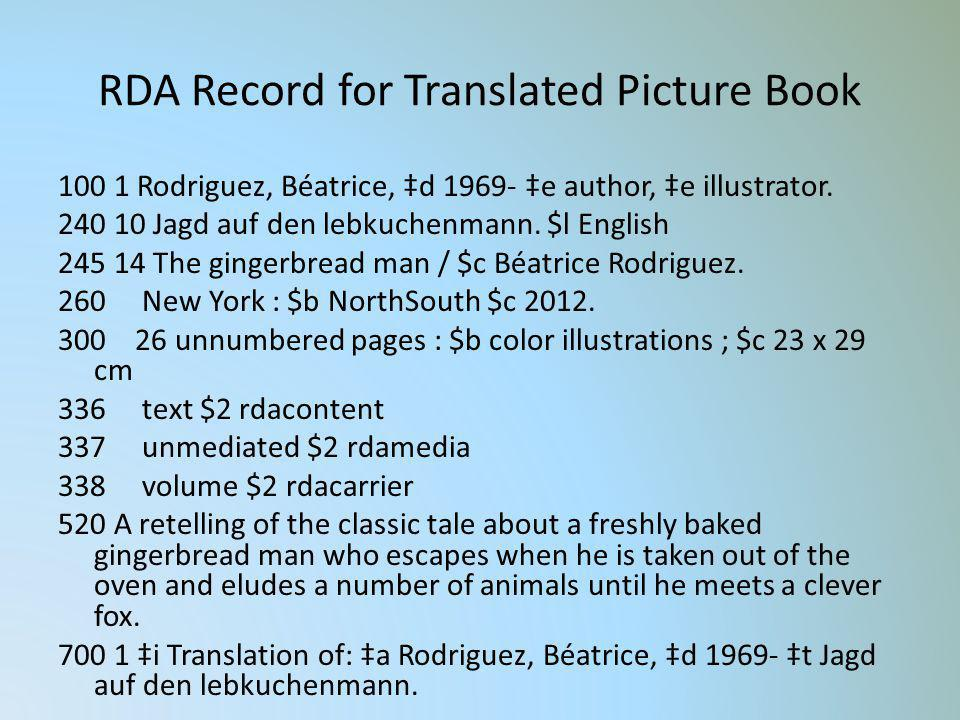 RDA Record for Translated Picture Book