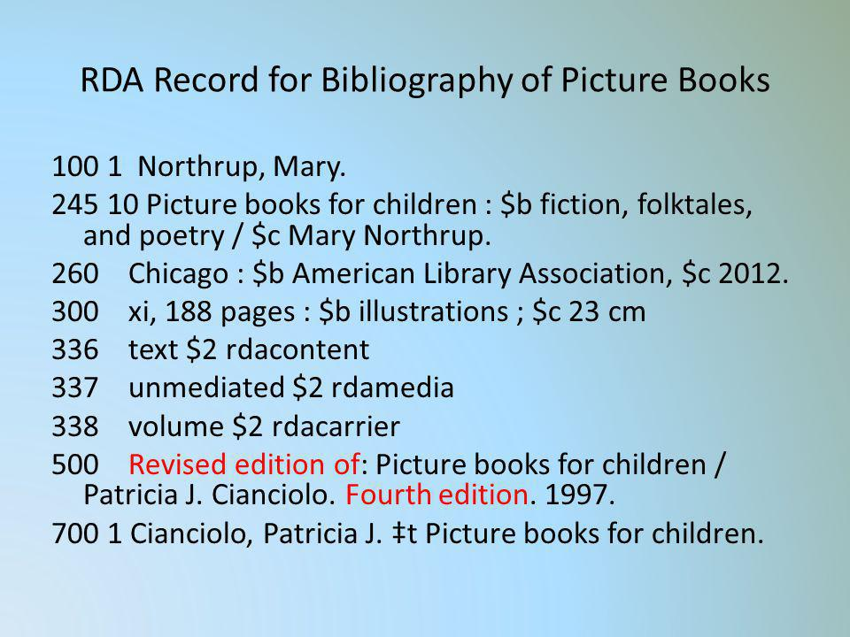 RDA Record for Bibliography of Picture Books