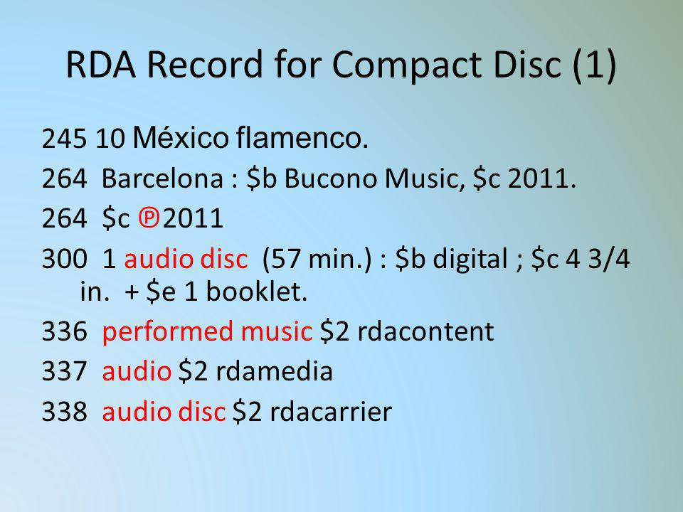 RDA Record for Compact Disc (1)