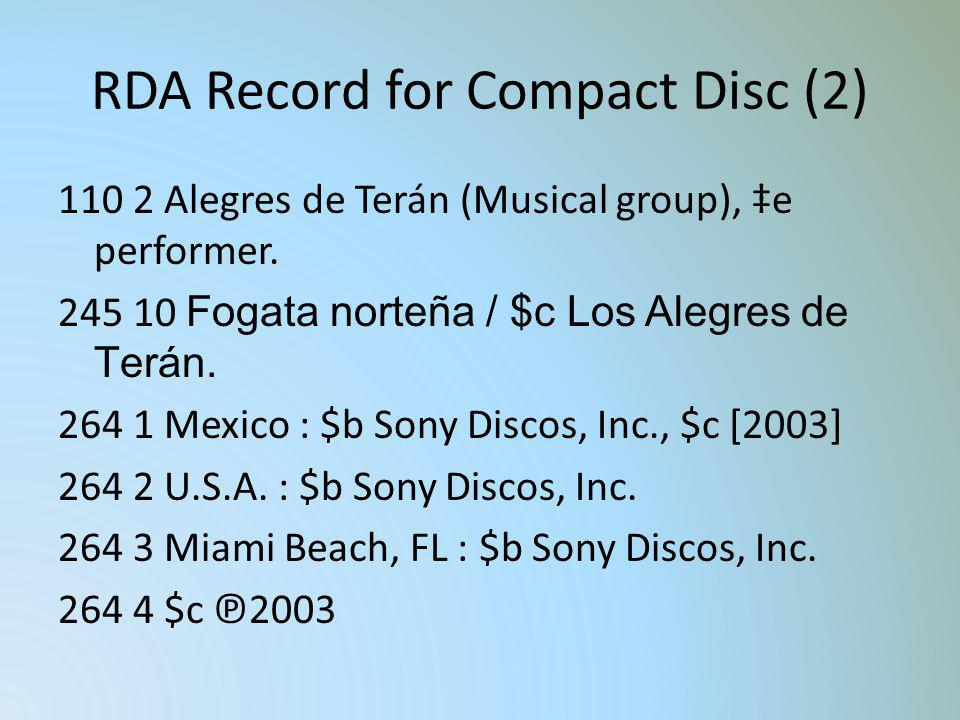 RDA Record for Compact Disc (2)