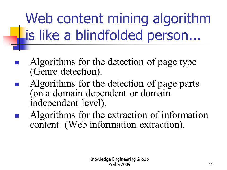 Web content mining algorithm is like a blindfolded person...