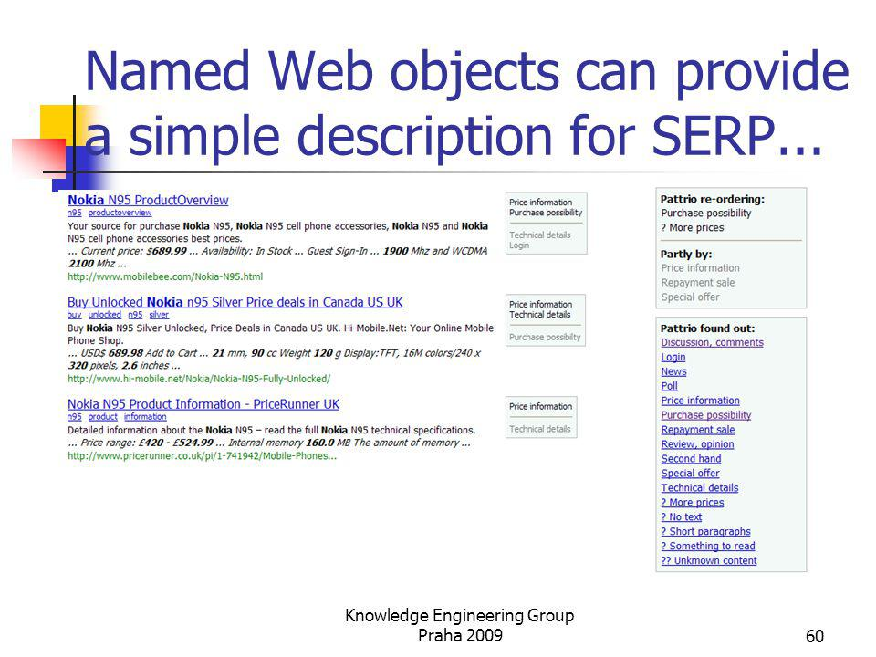 Named Web objects can provide a simple description for SERP...