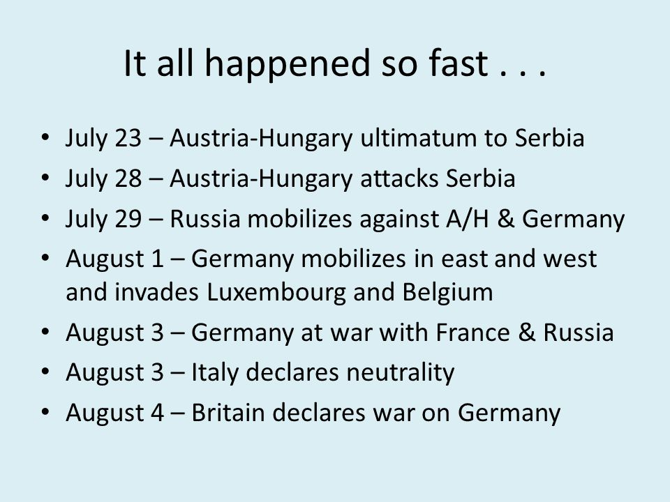 It all happened so fast . . . July 23 – Austria-Hungary ultimatum to Serbia. July 28 – Austria-Hungary attacks Serbia.