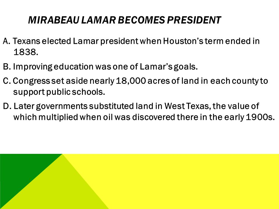 Mirabeau Lamar Becomes President