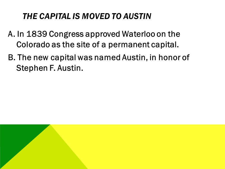 The Capital Is Moved to Austin