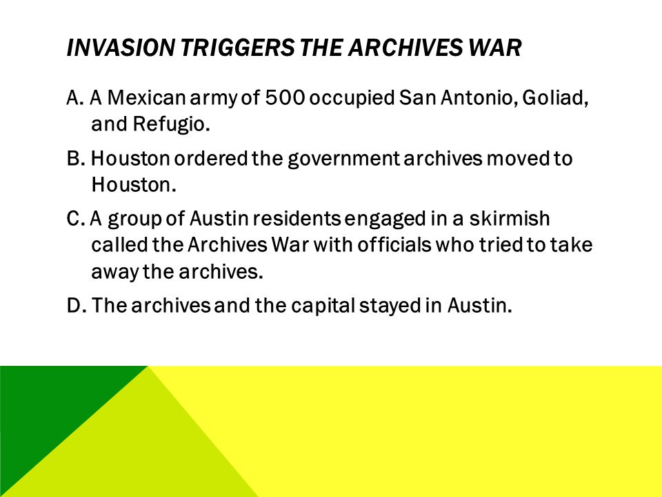 Invasion Triggers the Archives War