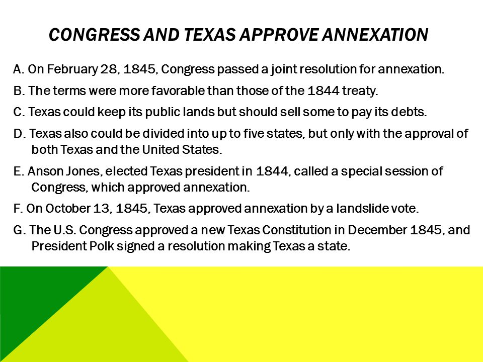 Congress and Texas Approve Annexation