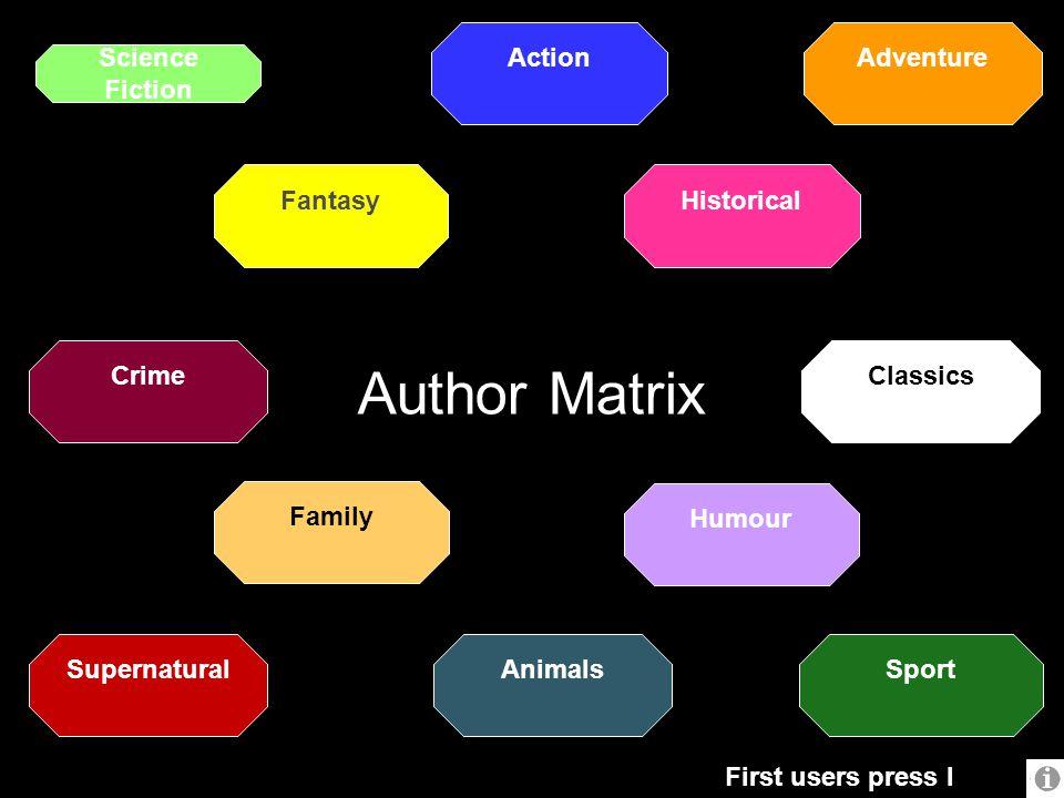 Author Matrix Action Adventure Science Fiction Fantasy Historical