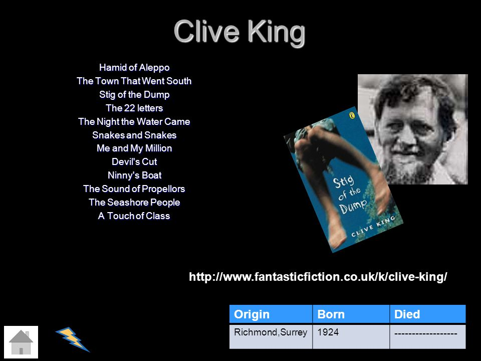 Clive King http://www.fantasticfiction.co.uk/k/clive-king/ Origin Born