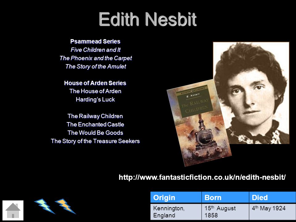 Edith Nesbit http://www.fantasticfiction.co.uk/n/edith-nesbit/ Origin
