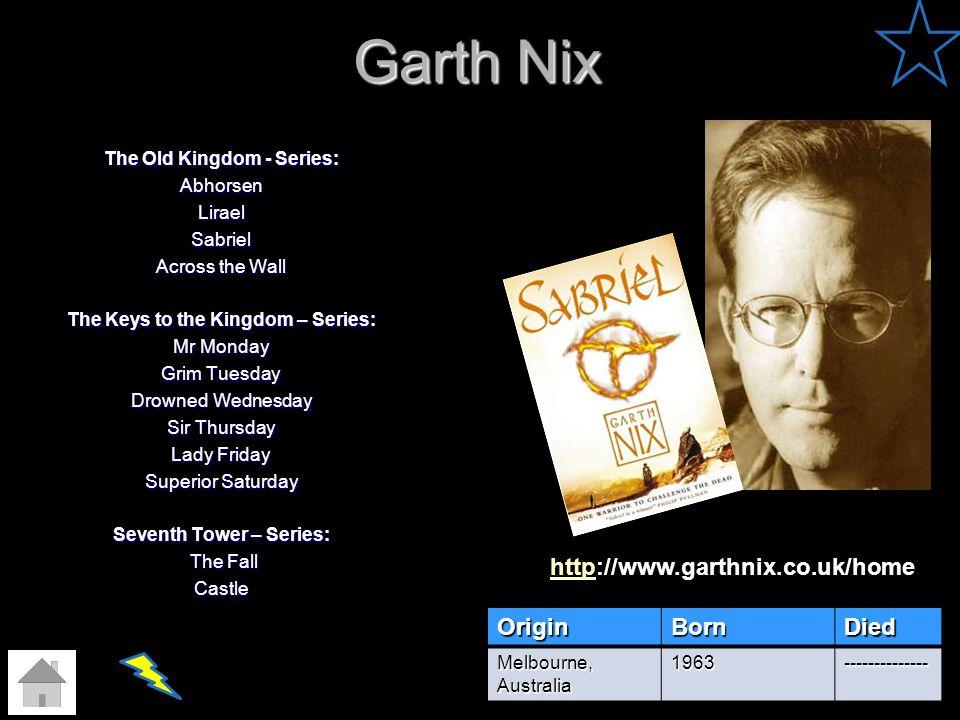 Garth Nix http://www.garthnix.co.uk/home Origin Born Died