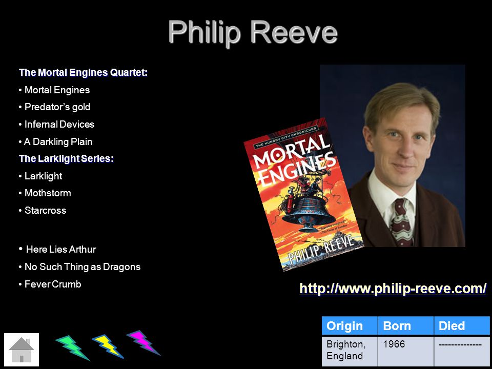 Philip Reeve http://www.philip-reeve.com/ Here Lies Arthur Origin Born